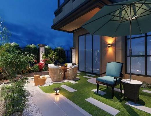 阳台, 露台, 桌椅组合, 遮阳伞, 植物