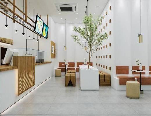 现代咖啡厅, 奶茶店, 前台, 吊灯, 餐桌, 沙发凳