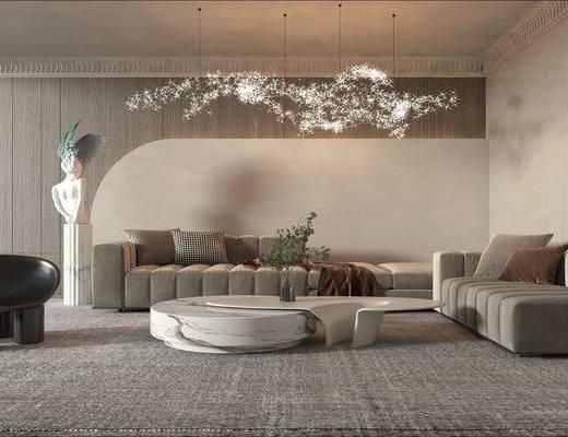 现代客厅, 多人沙发, 边几, 休闲凳