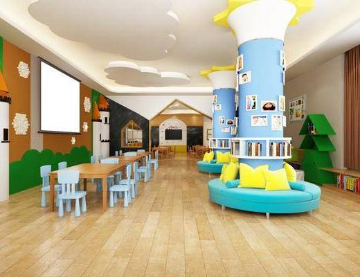 幼儿园教室, 桌子, 单人椅, 卡座, 书籍, 书柜, 照片墙, 装饰柜, 现代