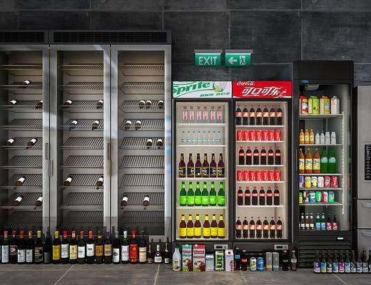 冰箱, 冰柜, 酒柜, 酒瓶, 饮料, 玻璃瓶