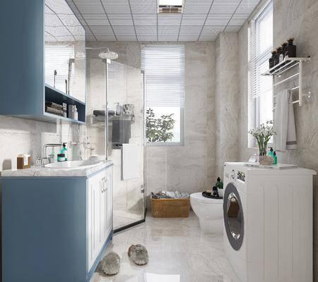 卫浴, 洗浴组合, 淋浴区, 洗衣机, 洗手盆