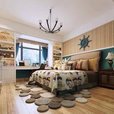 卧室, 双人床, 床头柜, 墙饰, 台灯, 装饰柜, 摆件, 装饰品, 挂画, 电视柜, 边柜, 吊灯, 现代