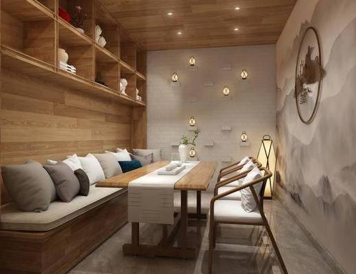 茶室, 茶桌, 单人椅, 装饰柜, 卡座, 墙饰, 花瓶, 绿植, 落地灯, 装饰品, 陈设品, 新中式
