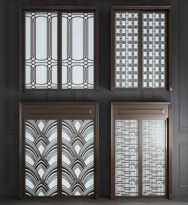 新中式实木玻璃推拉门3d模型, 推拉门, 实木门