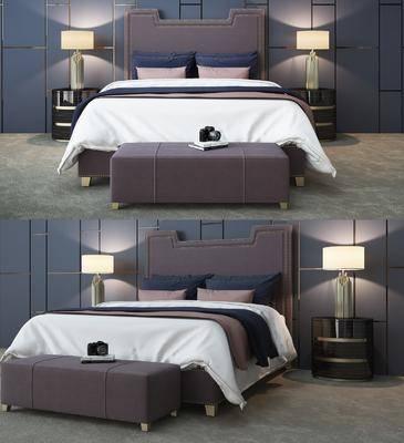 床具组合, 双人床, 现代床具组合, 现代双人床, 床头柜, 台灯, 现代, 双十一