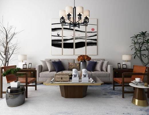 沙发茶几组合, 沙发, 茶几, 植物, 盆栽, 花瓶, 花卉, 单椅, 椅子, 凳子, 圆几, 装饰画, 吊灯, 摆件, 装饰品, 陈设品, 新中式