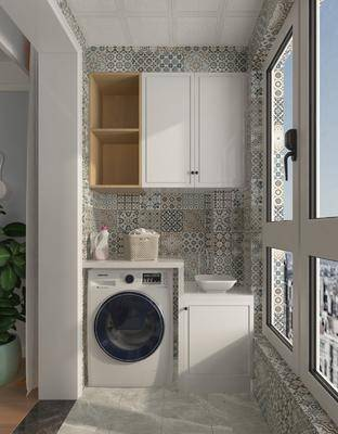 陽臺, 露臺, 洗衣機, 洗浴組合, 吊柜組合