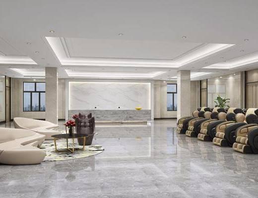 大厅, 现代酒店大厅, 前台, 接待区, 沙发, 按摩椅, 现代