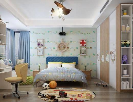 儿童房, 卧室, 床具组合, 装饰柜组合, 玩具组合, 桌椅组合, 摆件组合, 现代