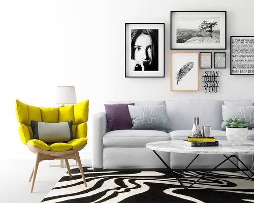 沙发组合, 沙发, 椅子, 茶几, 装饰画, 抱枕