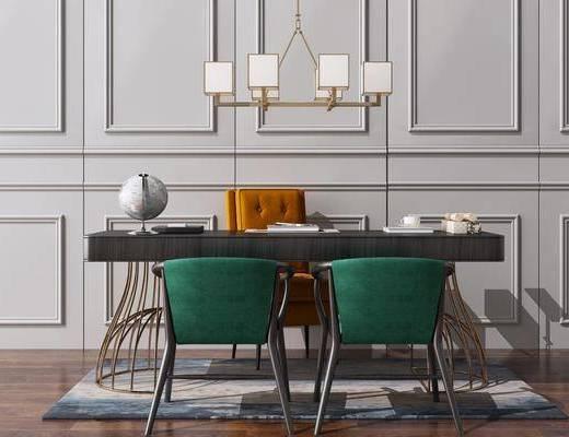 现代, 新中式, 桌椅组合, 书桌