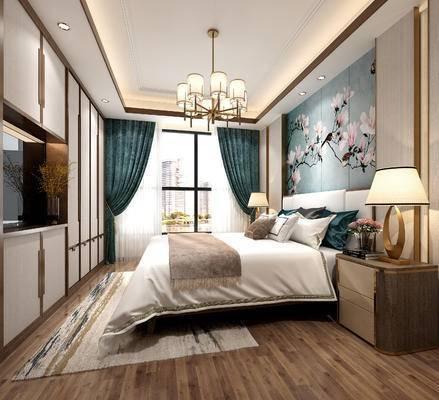 窗帘, 吊灯, 背景墙, 床头柜, 台灯, 单人床