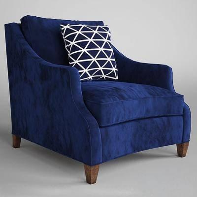 单人沙发, 休闲椅, 沙发, 布艺, 抱枕, 现代