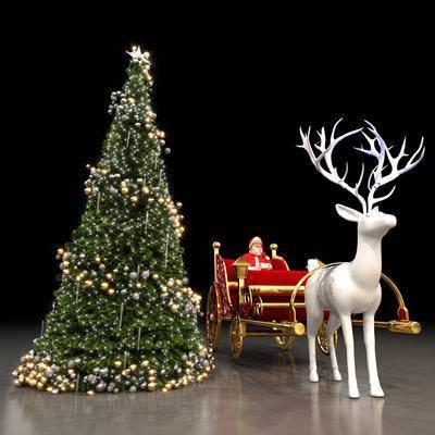 圣诞树, 圣诞老人, 鹿, 鹿车
