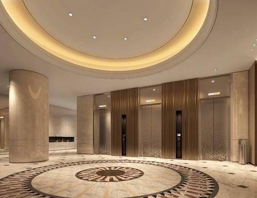 电梯厅, 人物挂画, 垃圾桶, 新中式