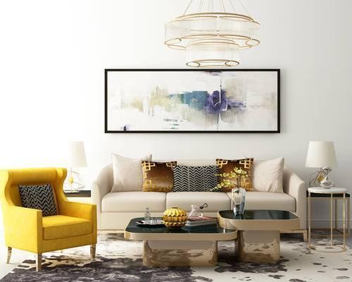沙发, 椅子, 茶几, 吊灯, 装饰画, 台灯, 摆件
