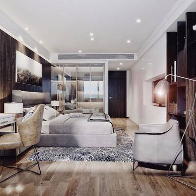 卧室, 现代, 北欧, 床, 书桌, 化妆台, 落地灯, 椅子, 书柜, 衣柜, 现代卧室, 北欧卧室, 双十一