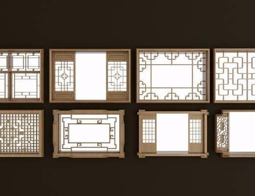 实木花格, 镂花, 雕花, 窗, 新中式, 双十一
