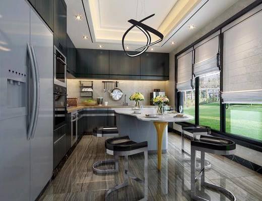 厨房, 橱柜, 厨具, 餐桌, 餐椅, 单人椅, 餐具, 摆件, 装饰品, 陈设品, 吊灯, 冰箱, 现代