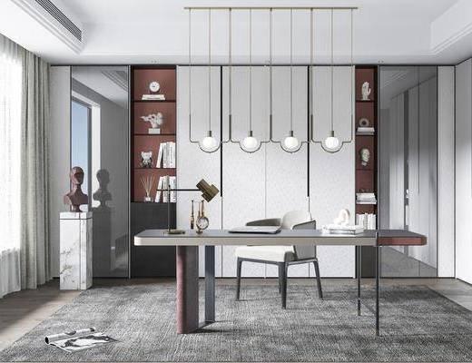 书桌, 吊灯, 摆件组合, 装饰品, 书柜, 书籍