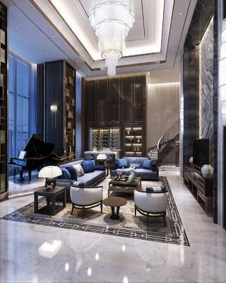 中式客厅, 别墅, 中式沙发组合, 吊灯, 钢琴, 电视柜, 楼梯