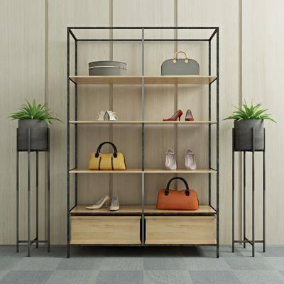 装饰柜, 装饰架, 盆栽, 鞋子, 包, 女包, 绿植, 现代