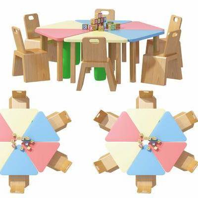 现代, 儿童椅子, 儿童桌子, 桌椅, 积木