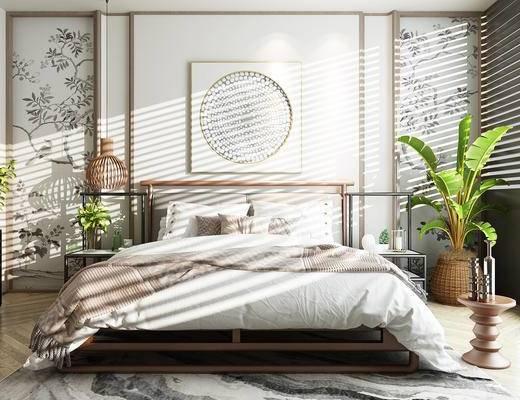 双人床, 床具组合, 植物, 床头柜