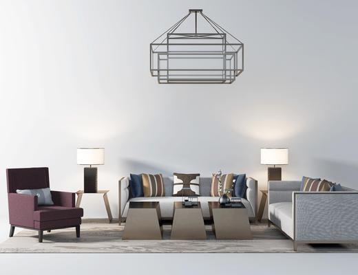 后现代沙发, 多人沙发, 单人沙发, 茶几, 摆件, 装饰品, 地毯, 吊灯