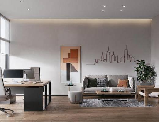 现代办公室, 办公桌椅, 沙发, 挂画, 墙饰