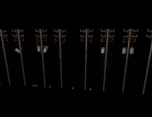 电线杆, 工业风电线杆, 工业风, 公共设施, 室外灯