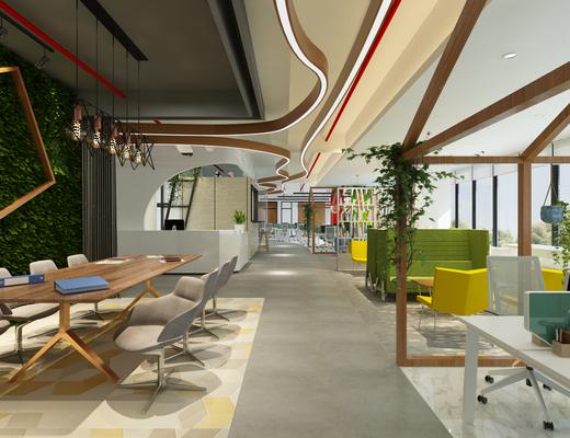 办公区, 办公桌, 办公椅, 单人椅, 电脑, 吊灯, 双人沙发, 茶几, 边几, 台灯, 书柜, 书籍, 盆栽, 绿植, 植物, 现代