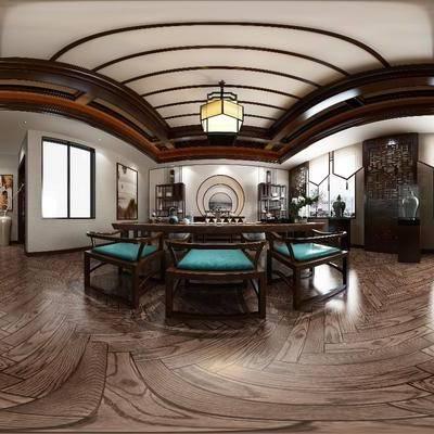 中式茶室, 中式, 茶室, 茶馆, 中式吊灯, 中式桌子, 中式椅子