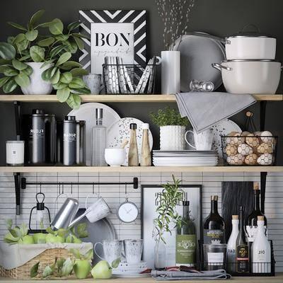 厨具, 餐具, 摆件组合, 现代厨具
