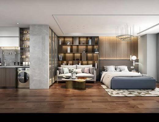 现代, 卧室, 小户型, 双人沙发, 装饰柜, 置物柜, 陈设品, 摆件, 床, 厨房