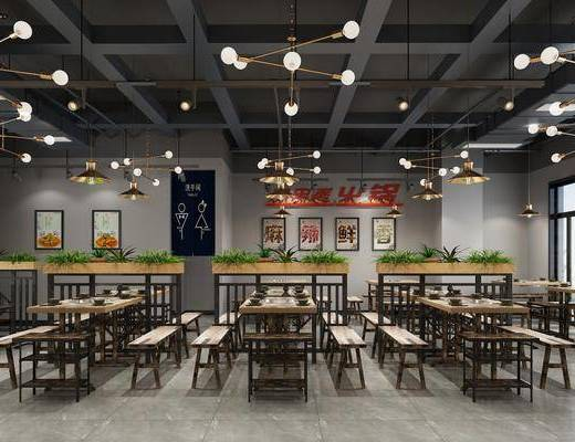 火锅店, 餐厅, 餐桌椅, 桌椅组合