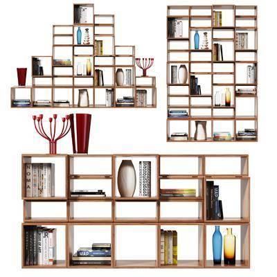 现代书柜书架隔断架隔断, 现代, 书柜, 书架, 书本, 书籍, 瓶子, 摆件