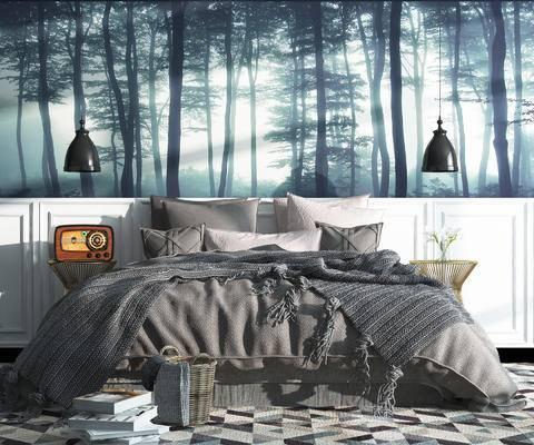 卧室, 床组合, 床, 吊灯, 床头柜, 边几, 书籍, 篮子