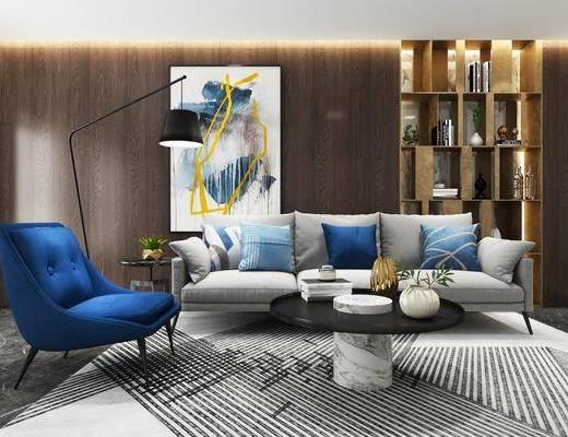 多人沙发, 布艺沙发, 单人沙发, 装饰画, 装饰柜, 茶几, 摆件, 现代