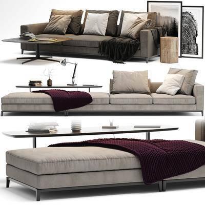 多人沙发, 茶几, 装饰画, 挂画, 现代