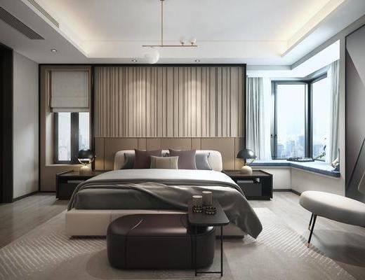 卧室, 床具组合, 台灯组合, 吊灯, 摆件组合, 现代