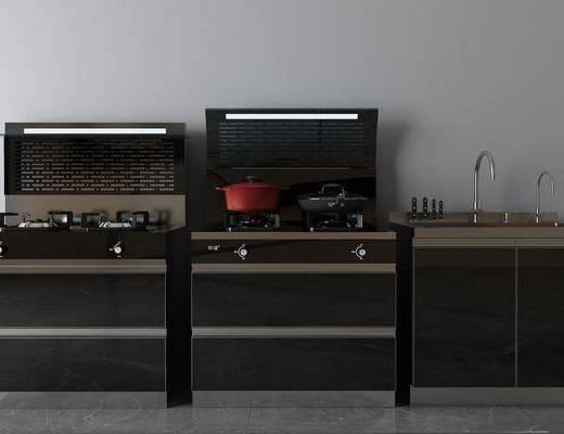 集成灶, 厨具, 洗手台, 现代