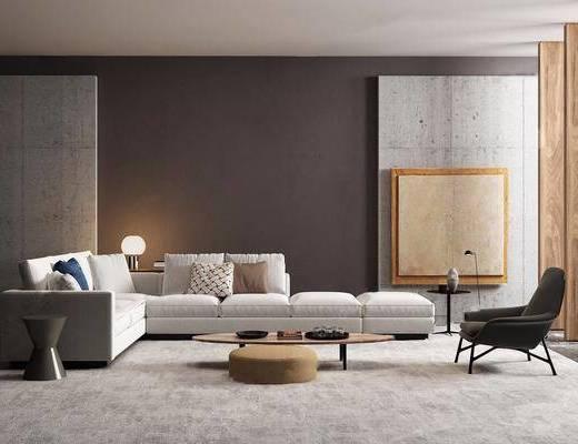 沙发组合, 茶几, 单椅, 休闲椅, 台灯, 圆几, 摆件, 双十一, 北欧沙发组合, 北欧, 现代
