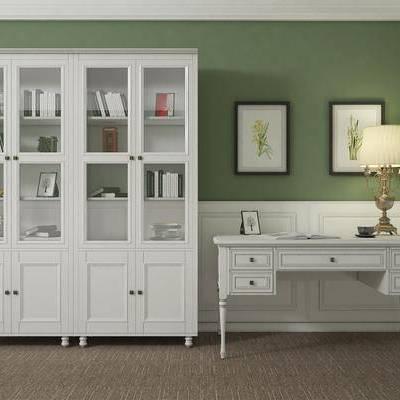书柜, 书桌, 台灯, 装饰画, 装饰柜, 置物柜, 简欧, 美式