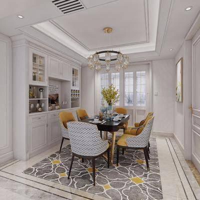 餐厅, 餐桌, 桌椅组合, 椅子, 置物柜, 摆件, 吊灯, 美式, 餐具, 美式餐厅, 双十一