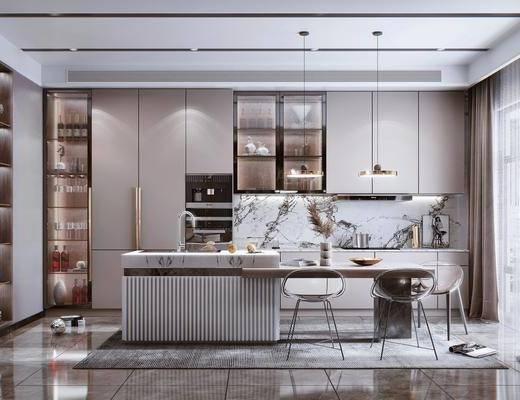 厨房电器, 装饰品, 吊灯, 吧台, 椅子, 酒柜