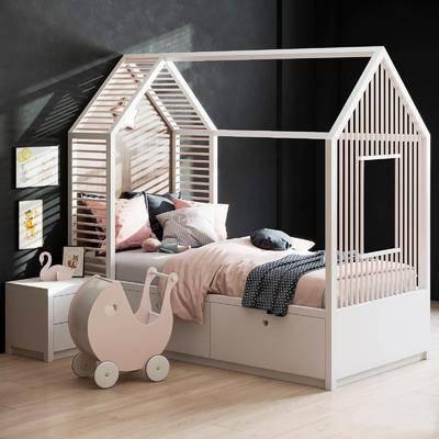 兒童床, 單人床, 床頭柜, 現代