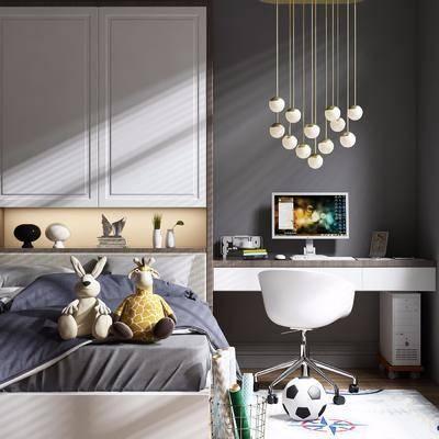 儿童床, 书桌, 椅子, 单椅, 衣柜, 摆件, 玩具, 装饰品, 吊灯, 北欧