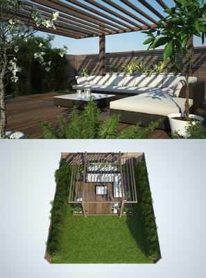 花园庭院, 多人沙发, 转角沙发, 茶几, 树木, 植物, 绿植, 盆栽, 花卉, 现代
